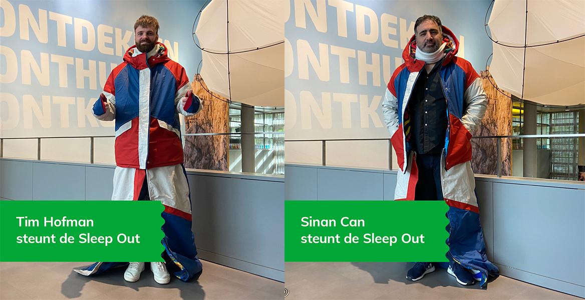 Tim Hofman en Sinan Can steunen de Sheltersuit Sleep Out