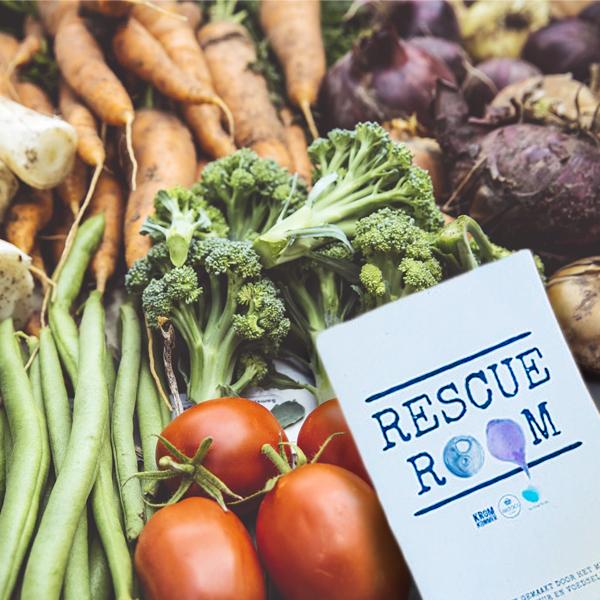Rescue Room flyers en groentes