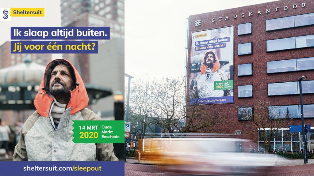 Het campagnebeeld van de Sheltersuit Sleep Out